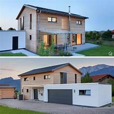 Garage Innen Mit Holz einfamilienhaus modern mit satteldach garage holz putz
