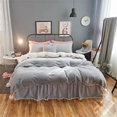 2017 new korean warm bed linen gray fleece fabric bedding