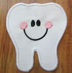 applique iron on smiling tooth dental iron on sew on applique embroidery