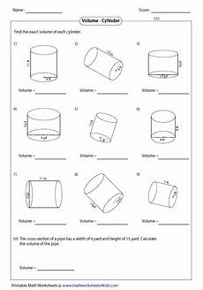 volume cylinder worksheet volume worksheets