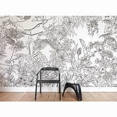 Papier Peint Jungle Tropical Noir Blanc Panorama