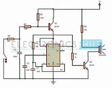 wailing siren circuit using 555 timer ic electronics home safety siren design diagram