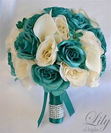 17 piece package silk flower wedding bridal bouquets teal emerald ivory ebay