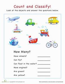 classify and categorize worksheets 5th grade 7970 count and classify vehicles worksheet education