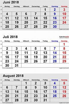 Kalender 2018 Juli - kalender juli 2018 als excel vorlagen