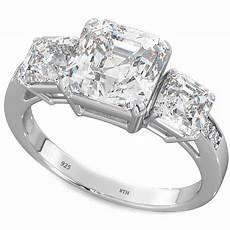 3 stone asscher cz 925 silver wedding engagement bridal ring