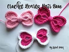 Crochet Hair Bows rebel skein crochet hearts hair bow