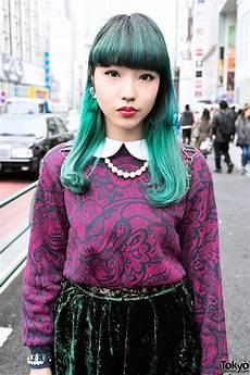Harajuku Style Hair chipa s green hair velvet skirt tokyo boppers in harajuku