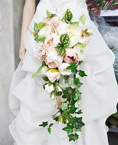 waterfall style wedding bridal bouquet handmade bridesmaid