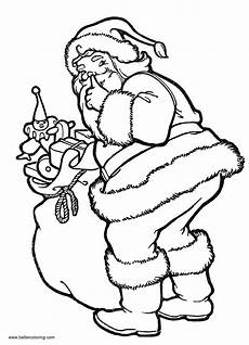 coloring pages santa with toys free