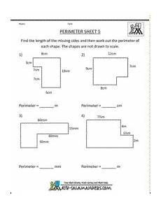 perimeter sheet 5 a 4th grade geometry worksheet to find