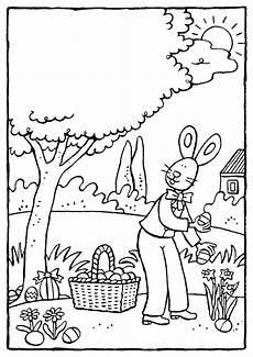 Osterhasen Malvorlagen Text Der Osterhase Versteckt Ostereier Kiddimalseite