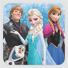 frozen elsa kristoff and olaf square sticker