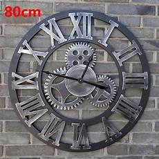 80cm Large Wall Clock Saat 3d Gear Clock Wooden Duvar