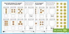 simple money worksheets uk 2801 how much money is in my money jar differentiated worksheet worksheets