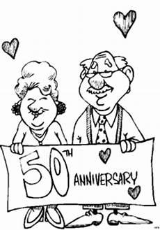 Ausmalbilder Goldene Hochzeit Ehepaar Goldene Hochzeit Ausmalbild Malvorlage Comics