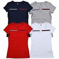 hilfiger womens shirt split neck flag logo t shirt v