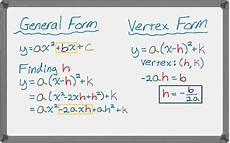 writing quadratic functions in vertex form youtube