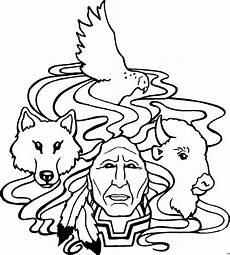 Malvorlagen Indianer Kostenlos Indianer Ochse Wolf Adler Ausmalbild Malvorlage Phantasie
