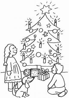 ausmalbild weihnachten kinder unterm christbaum kostenlos