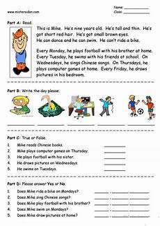 days of the week easy reading comprehension worksheet