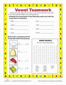 vowel teams worksheet education com