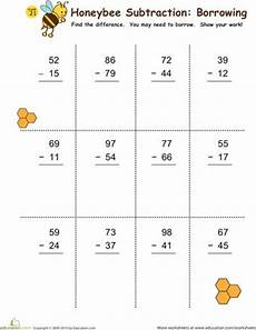 2nd grade math worksheet subtraction without regrouping subtraction with borrowing honeybees math worksheets