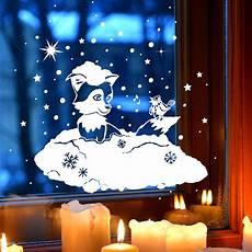 fensterbild fensterdeko winterbild winter fuchs vogel