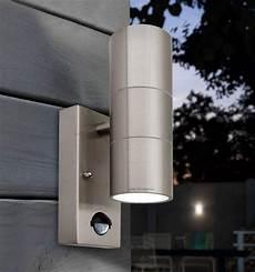 pir stainless steel double outdoor wall light with movement sensor ip44 zlc08dsen up down