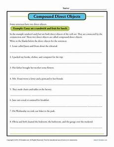 compound direct object worksheet parts of a sentence
