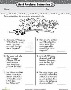 3rd grade math worksheet addition and subtraction word problems word problem 3 digit subtraction at the word