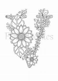 malseite zum ausdrucken buchstabe v floral buchstaben