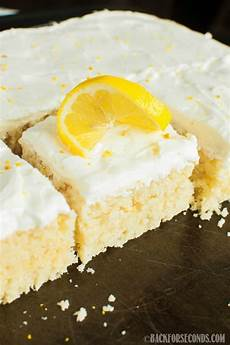 lemon sheet cake with lemon cheese frosting back for seconds