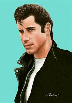 travolta grease painting by bruce lennon