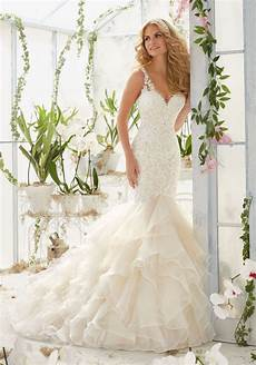 pearls and crystals on lace mermaid wedding dress style 2819 morilee
