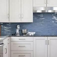 Blue Glass Tile Kitchen Backsplash White Kitchen Cabinets Blue Glass Backsplash Design Ideas