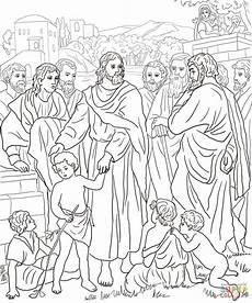 jesus with children coloring page free printable