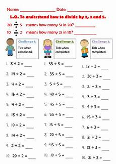 division worksheets by 2 6111 year 2 dividing by 2 5 and 3 teaching resources