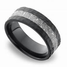 flat meteorite inlay men s wedding ring in hammered zirconium
