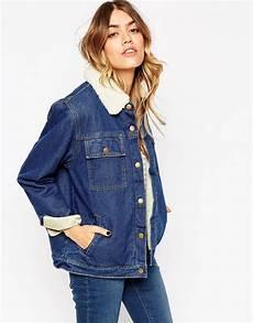 veste en jean mouton femme image 1 asos veste en jean avec doublure et col effet