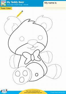 colors tracing worksheets 12820 my teddy worksheet trace color simple