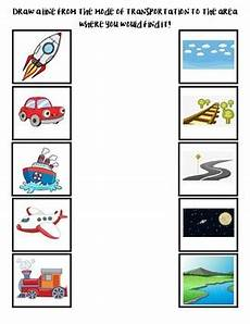 vehicles worksheets kindergarten 15164 transportation matching worksheet by early childhood resource center