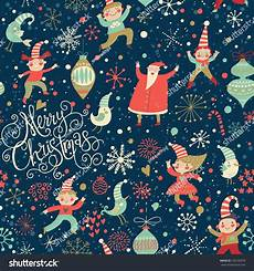 stylish merry christmas seamless pattern with santa claus elves birds candies and toys in