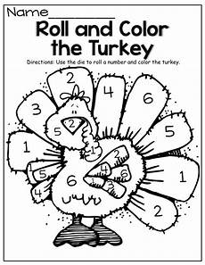 november color by number worksheets 16214 roll a die and color the turkey this could work with other holidays as well roll of the