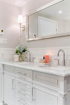 chic master bathroom features upper walls painted pale gray benjamin stonington gray and