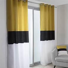Rideau Tamisant Yellow Noir Blanc Et Jaune L 140 X H