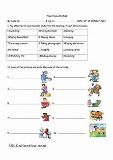 time worksheets and activities 2904 17 best images about hobbies free time activities on