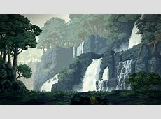 Waterfalls   Pixel Art Wallpaper   Trabajos de Pixel Art