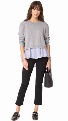 blouse and sweater combo lyst factory combo flounce sweater in gray