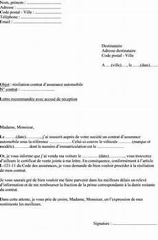 mod 232 le lettre de r 233 siliation contrat d assurance voiture
